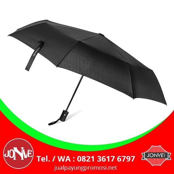 grosir payung lipat polos souvenir warna hitam silver
